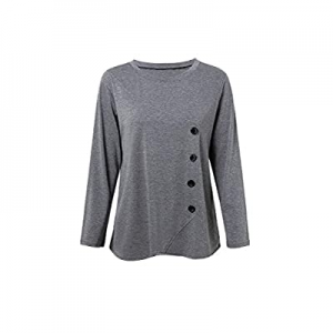 Womens Casual Long Sleeve Round Neck Loose Tunic T Shirt Blouse Tops Side Button Trim now 55.0% off
