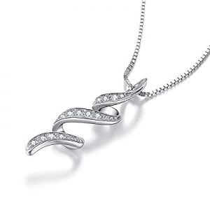 VANLAMS S925 Sterling Silver Cubic Zirconia Pendant Necklace for Women Girl Jewelry Gifts now 65.0..