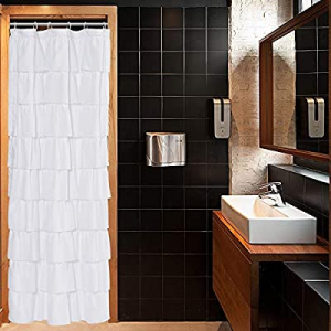 WestWeir Ruffle Shower Curtain now 5.0% off ,36-inches Wide Stall,White Ruffled Bath Curtains for ..