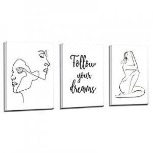 Gallery Wrapped Ready to Hang now 60.0% off ,Women Minimalist Line Wall Art,Aesthetic Woman Body F..