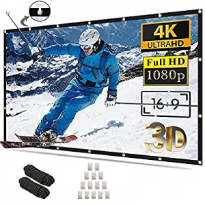 50.0% off Projector Screen 100 inch 16:9 4K HD Foldable Anti-Crease Portable Projection Movies Scr..