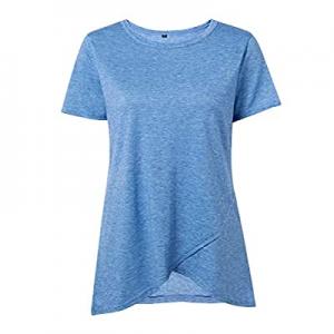 55.0% off Fleur Wood Womens Summer Irregular Hem Dress Casual Short Sleeve Swing Blouse T Shirts L..