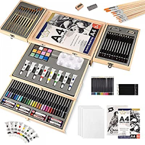 88 Piece Art Set with 2 x 50 Page Drawing Pad and 4 Canvas Panels now 55.0% off , Professional Art..