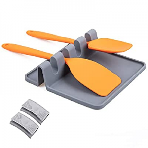 Meiliweser Silicone Spoon Rest with Drip Pad now 60.0% off , Kitchen Spoon Holder for Stove Top, H..