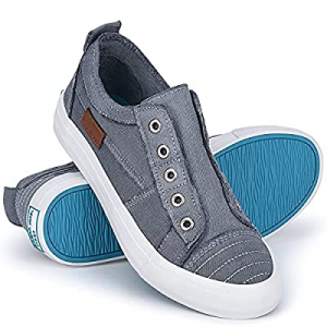 One Day Only!JENN ARDOR Womens Canvas Sneakers Fashion Shoes Low Top Unlaced Slip on Canvas Casual..