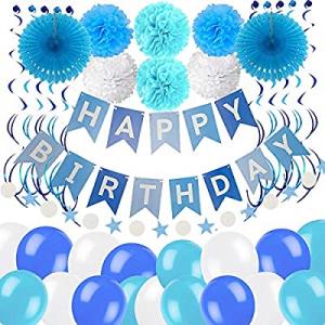 45.0% off JRrutien Blue Birthday Party Decorations Happy Birthday Banner Confetti Garland Paper Po..