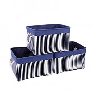 TcaFmac Navy Fabric Storage Basket [3-Pack] Collapsible Canvas Storage Containers Organizing Baske..