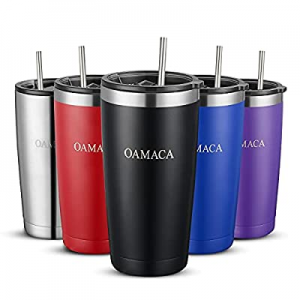 Oamaca 20OZ coffee tumblers with lids and straws,Stainless Steel Vacuum Insulated Travel cup,Doubl..