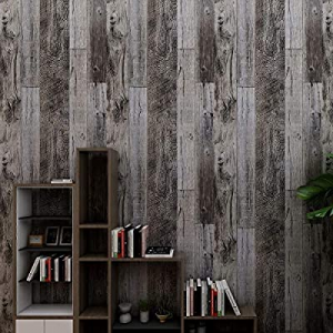 30.0% off HAMIGAR Grey Wood Peel and Stick Wallpaper Self-Adhesive Paper Decorative Wall Covering ..