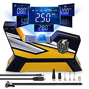 Tire Inflator DC 12V Portable Air Compressor now 60.0% off , Auto Vehicle Air Pump with LED Light,..